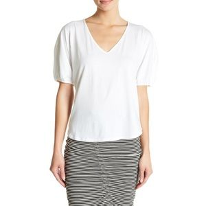 NWT Nordstrom Pleated Sleeve V-Neck Knit White Tee